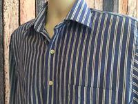 Michael Kors Sz 16, 34/35 Long Sleeve Button Front Blue/White DRESS SHIRT