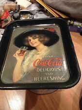 Vintage Square Drink COCA-COLA Metal Serving Tray Retro Style Woman In A Hat