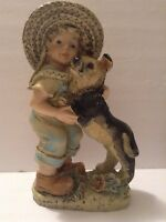 Vintage Home decor/ Garden Statue Country Boy With Wicker Hat and a Dog Resin