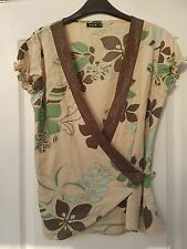 VILA BEIGE BROWN GREEN COTTON PRINT EMBROIDERED WRAP AROUND TUNIC BLOUSE TOP - S