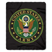 United States Army Armed Forces US Emblem Logo Green Fleece Throw Blanket NEW