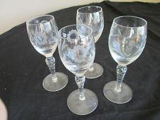 4 Vintage twisted spiral stem cordial / Aperitif Goblet / Glasses