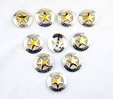 Lemo 10pcs Western Silver&Gold Texas Star Saddle Conchos 3Cm TO183