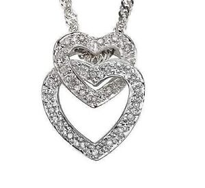 DIAMOND PENDANT NECKLACE 10K WHITE GOLD 0.13CWT EARTH MINED STONES DOUBLE  HEART