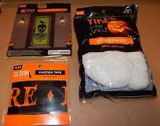 Halloween Outside Decor Kit Door Cover 200ft Of Spiderweb 30ft Caution Tape 116J