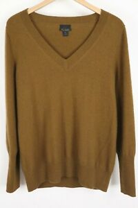 J.CREW COLLECTION Womens Size XL Brown 100% Italian Cashmere V-neck Sweater