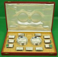 Cartier Sterling Silver Set of (12) Coasters/ Ashtrays & (11) Matchbook Holders