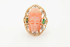 Vintage Carved CORAL Emerald Diamond 14k Yellow Gold ASIAN WOMAN Ring
