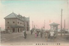 JAPAN Postcard YOKOHAMA Bridge English Hatoba street scene HAND COLORED c1910 横浜