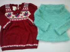 NICE WINTER SEQUIN MONSOON RIVER ISLAND BUNDLE BABY GIRL JUMPERS 0/3 MTHS(0.2