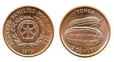 TONGA: 3-PIECE VINTAGE UNC. COIN SET:  1 & 2 SENITI, KM#S 27A, 42 & 43