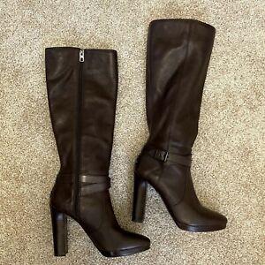 Coach Womens Angelina US11B  Dark Brown Solid Full Zip Leather Linen High Heels