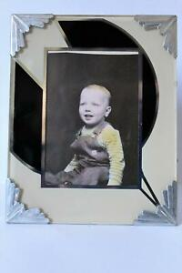 Art Deco Reverse Painting Frame Glass Vintage Mid Century 4X5