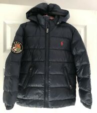 BNWT POLO RALPH LAUREN NAVY RACER PUFFER HOODED DOWN JACKET SIZE S  AGE 8