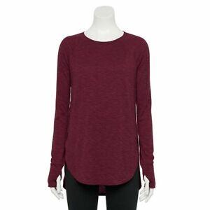 NWT TEK GEAR  Women's T Shirt Long Tunic Moisture Wicking Large Wine