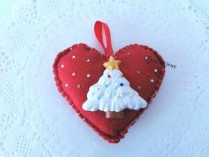 cuore natalizio pannolenci feltro albero ceramica decorazione albero idea regalo