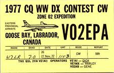 Vtg Ham Radio CB Amateur QSL QSO Card Postcard CANADA GOOSE BAY VO2EPA 1977