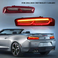 Pair Red LED Tail Lights Rear Lamp Sequential Turn Signal for 16-18 Chevy Camaro