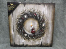 Twigs & Berry Wreath Red Bird Flickering Lighted Canvas Home Decor Wall M Lilley