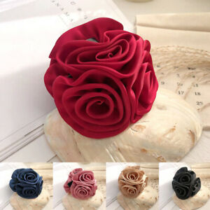NEW Quality Cloth Rose Flower Bow Hair Claw Jaw Clips for Women Accessories