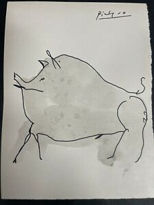 Picasso Signed Drawing of Animal on Paper
