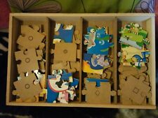 Children's Set Of 4 Larger 24 Piece Wooden Jigsaw Puzzles in Wooden Box