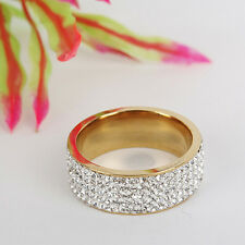 Unisex CZ Stainless Steel Ring Men/Women's Wedding Band Rings Gold Silver 8-10 N
