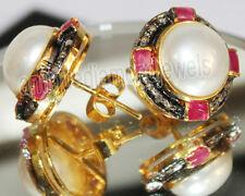Victorian Look 925 Silver Studs Earring 1.13ct Rose Cut Diamond Ruby Pearl