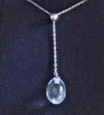 Tiffany & Co Aquamarine 18K White Gold Rainbow Drop Pendant w/ Pouch (#221)