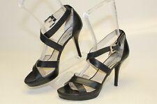 Michael Kors Womens 9.5 M Black Leather Ankle Strap Sandal Platforms Heels Shoes