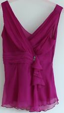 NEXT Petite violet silk V neck sleeveless  top 14 evening party