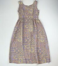 VTG 60s 70s Homemade Lavender/Peach Floral Sleeveless Dress See Measurement