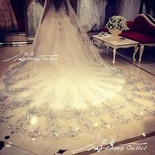 Crystals Bridal Wedding Veil Cathedral Long 1Tier With Comb 3.M lace ivory/white