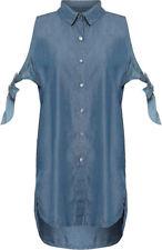 T-shirt, maglie e camicie da donna senza maniche blu in cotone