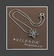 "SILPADA .925 Sterling Silver Oxidized Flower Pendant Necklace - 15"""