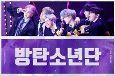 Fansite's BTS all member's slogan banner with gray reflection with a zipper bag