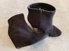 Atmosphere size 6 (39) black faux suede side zip wedge heel ankle boots