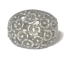 Vintage Flower Dome Band Sterling Silver Ring  Size 5.75