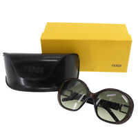 FENDI Logos Sunglasses Dark Brown Eye Wear Plastic Vintage Italy Auth #MM564 O