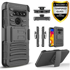 For LG G8 ThinQ / G7 Phone Case,Belt Clip Cover Combo+Tempered Glass Protector