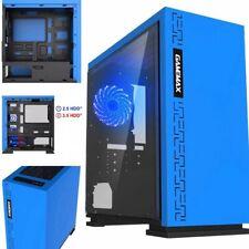 Case Pc Gaming Mid Tower GameMax blu con 2 ventole (retro e top) led blu