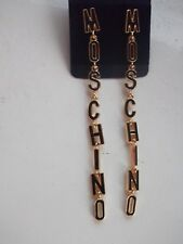 LETTERS BLACK DROP Earrings Fashion Jewellery Statement Trendy Gold Moschino