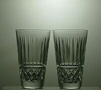 """WATERFORD CRYSTAL """"TRAMORE"""" CUT HIGHBALL TUMBLERS SET OF 2 - 5"""" TALL"""