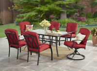 7Pc Dining Set Red Cushions Swivel Chairs Glass Top Table Garden Patio Furniture