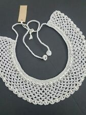 Handmade Collar Choker Necklace Gray Cotton Crocheted Beaded
