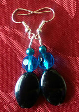 Black glass bead 19mm, silver plated earrings, blue crystal, blue bicone(88)