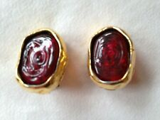 Chanel 1980s earrings clip on oval gold wrapped red nugget glass Gripoix?