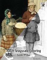 Adult Coloring Book (24 pages) Girls Life Norman Rockwell FLONZ grayscale 062