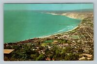 La Jolla CA Aerial Town View Rugged Pacific Shoreline Chrome California Postcard