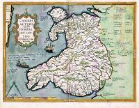 Map Antique 1584 Ortelius Wales Old Historic Large Replica Canvas Art Print